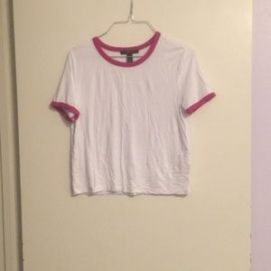 Forever 21 Pink and White Crop Top